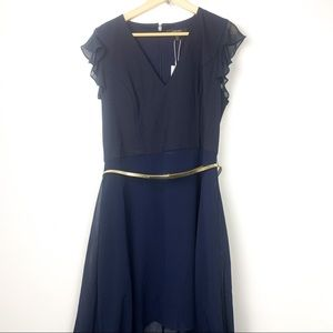 Evernew uneven flowy dress size 14 navy with belt